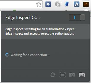 Плагин Adobe Edge Inspet ожидает соединения
